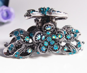 New Fashion Blue Crystal silver tone Metal flower hair claws clips pins HH9111