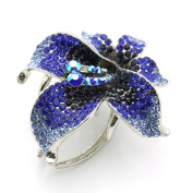 DoubleAccent Hair Jewellery Crystal Luxury Flower Hair Jaw Blue Colour