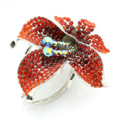 DoubleAccent Hair Jewellery Crystal Luxury Flower Hair Jaw Red Colour