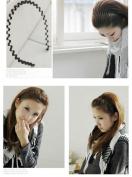 Unisex Black Wavy hair band headband / Hair Holder + One free Ponytail Holder