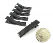 (40) Black Alligator Hair Clip with teeth , Silver Metal Curl Prong Clips Spring in Hair - 1 3/16 Inch