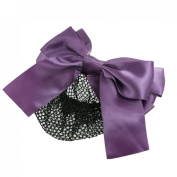 Rosallini Purple Polyester Bowknot Barrette Hair Clip Snood Net for Women