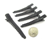 (40) Black Alligator Hair Clip with teeth , Silver Metal Curl Prong Clips Spring in Hair - 1 3/4 Inch 45mm