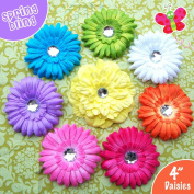 Ema Jane - Cute Spring Bling Gerber Daisy Flower Hair Clips (8 Flowers, Headbands NOT Included) - Newborns, Baby, Girls, Toddlers, Youth