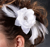 Lillian Rose-Flower and Feather Clip/Pin in White
