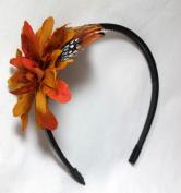 Fall Orange Flower Feather Headband