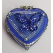 Heart Shaped Glass Jewellery Trinket Box with Butterly - Dark Blue