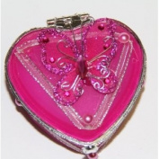 Heart Shaped Glass Jewellery Trinket Box with Butterly - Fuchsia