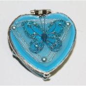 Heart Shaped Glass Jewellery Trinket Box with Butterly - Turquoise