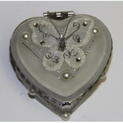 Heart Shaped Glass Jewellery Trinket Box with Butterly - White