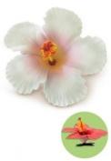 Hawaiian Hair Clip Foam Flower Hibiscus White