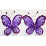 Gift Square 5.1cm Organza Butterfly Clip Wedding Favour 20 Pack - Dark Purple