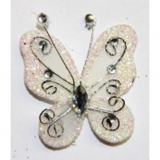 Gift Square 5.1cm Organza Butterfly Clip Wedding Favour 20 Pack - Ivory