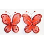 Gift Square 5.1cm Organza Butterfly Clip Wedding Favour 20 Pack - Red