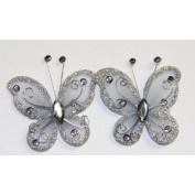 Gift Square 5.1cm Organza Butterfly Clip Wedding Favour 20 Pack - Silver