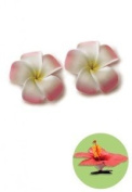 Hawaiian Hair Clip Foam Flowers Baby Plumeria Pink & Yellow, White set of 2