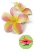 Hawaiian Hair Clip Foam Flowers Double Plumeria Pink & Yellow