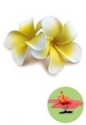 Hawaiian Hair Clip Foam Flowers Double Plumeria Yellow & White