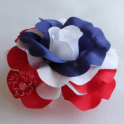 Sara Monica Artisan Collection: Flower Hair Clip and Brooch Pin: Patriot Rose
