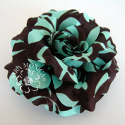 Sara Monica Artisan Collection: Flower Hair Clip and Brooch Pin: Turquoise Cocoa Rose