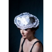 Fashion Elegant Crystal Veiled Lace Hat with Lace in the Front and Pearl Fascinator Clip --White