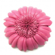 Pink Sunflower Genuine Leather 2-in-1 Floral Pin/Hairclip