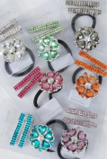 Fashion Hair Accessory ~ Assorted Colour with Infanity Stone Pony Tail Holder and Hair Alligator Clips Set of 12
