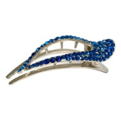 DoubleAccent Hair Jewellery Classic Design Large Crystal Clip Blue Colour