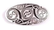 St Justin, Pewter Lindisfarne Spirals Oval Hair-Slide