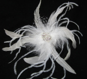Large White Feather Wedding Hair Clip