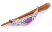 St Justin, Pewter Large Cabochon Hair-Slide With Rosewood Pin - Amethyst