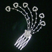 Shooting Star w. Hearts Crystal Hair Comb