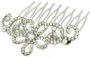 Fancy Hair Jewellery, Silvertone Flower Design Sparkling Crystals Comb