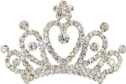 Fancy Hair Jewellery, Tiara Crown Heart Design Silvertone Hair Comb with Sparkly Crystals