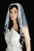 Bridal Veil Wedding One Tier Diamond Off White Shoulder Satin 6 mm Ribbon Trim