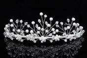 Handmade Rhinestone Crystal Flower Beads Pearl Bridal Wedding Tiara Crown