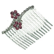 Papaver Silver Pink Crystal Hair Comb