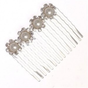 DIANTHUS Silver Crystal Pearl Hair Comb