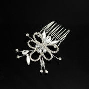 Bridal Rhinestone Ribbon Flower Side Decorative Comb