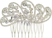 Fancy Hair Jewellery, Elegant Peacock Feather Design Silvertone Hair Comb Sparkly Crystals