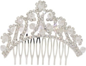 Fancy Hair Jewellery, Elegant Tiara Design Silvertone Hair Comb Sparkly Crystals Beads