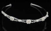 Crystal Head Band with Pearl Floral Accents for Wedding, Prom, Pageant, Quinceañera or Other Special Events.