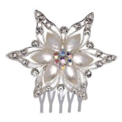Cecile Silver Crystal Pearl Hair Comb