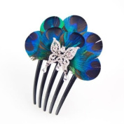 Crystalmood Handmade Peacock Feather and Rhinestone Butterfly French Twist Comb
