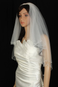 Bridal Veil Wedding 2T Diamond Off White Elbow Crystal Drop Scalloped Beaded