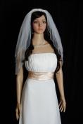 Bridal Veil Wedding Bride Two Tier White Elbow 63.5cm x 76.2cm Crystal Bungle Beaded Trim