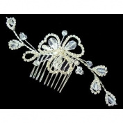 Bridal Wedding Beautiful Elegant Crystal Handmade Beaded Leaves Hair Comb