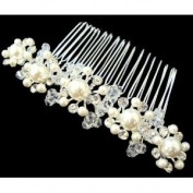 Bridal Wedding Beautiful Elegant Crystal Flowers Hair Comb with Centre Pearls