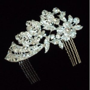 Bridal Wedding Beautiful Elegant Crystal Flowers and Leaves Hair Comb