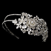 Antique Silver Clear Rose Side Accent Bridal Headband Headpiece